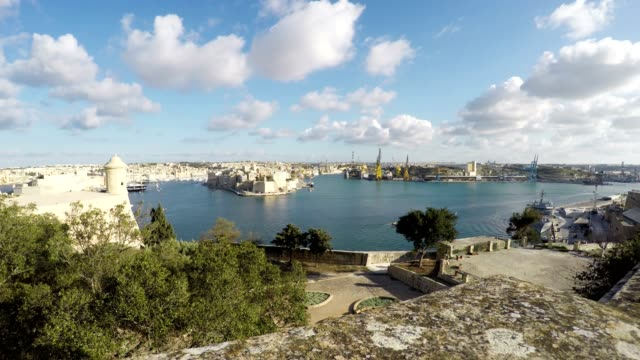 Three Cities as seen from Valletta, Vittoriosa, Senglea, Cospicua, Republic of Malta, Real Time video