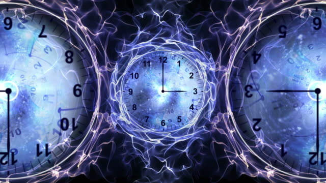 Three Clocks and Tunnel in Fibers Ring, Time Travel Concept, Background, Loop video
