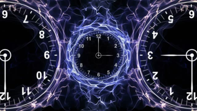 Three Clocks in Fibers Ring, Time Travel Concept, Background, Loop, 4k video