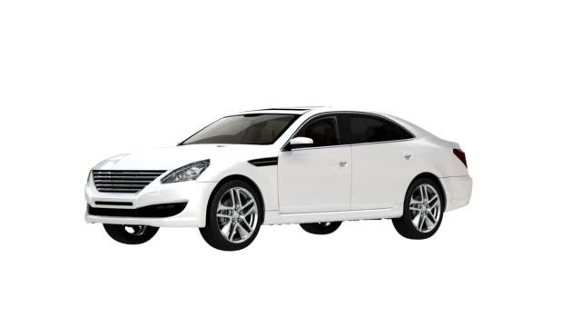 Three dimensional sedan car loopable spin with luma matte video
