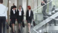 DS Three female businesswomen talking and walking down hallway video