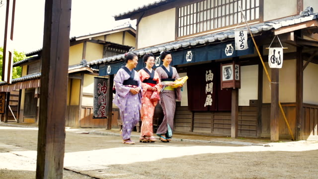 Three Generation Family Women Dressed in Traditional Costume in an Edo Era Japanese Village video