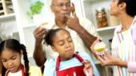 Three Generations Ethnic Family Kitchen Baking video
