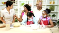 Three Generations Ethnic Family Kitchen Baking video