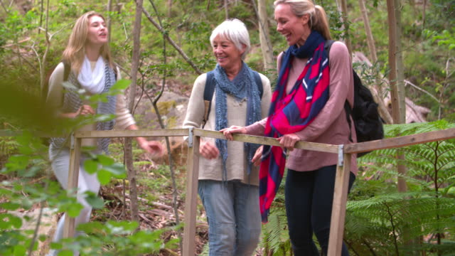 Three generations of women walking to a bridge in a forest video
