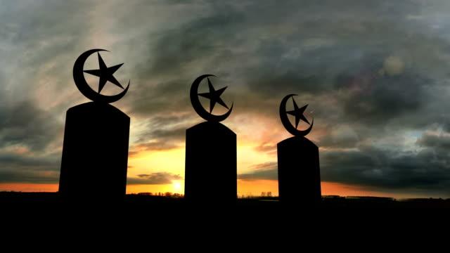 Three Islamic Tombstones At Sunset video
