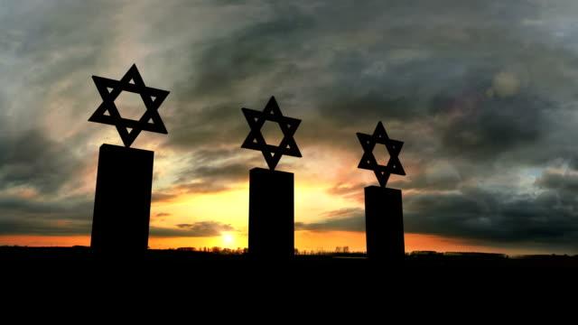 Three Jewish Tombstones At Sunset video