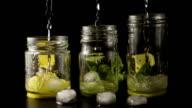 Three lemonade slow motion video