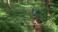 AERIAL Three people running on a forest path video