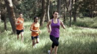 SLO MO DS Three people running through forest in sunshine video