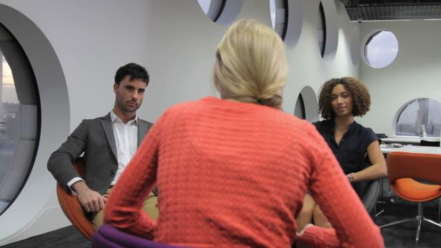Three people team meeting video