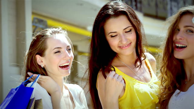 Three pretty girls-shopaholic make selfieie after shopping video
