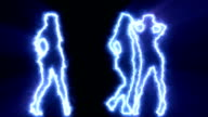 Three sexy girls dancing in blue outline video