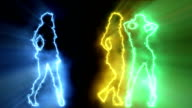 Three sexy girls dancing in colored outline video