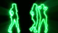 Three sexy girls dancing in green outline video