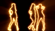 Three sexy girls dancing in orange outline video