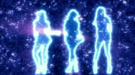 Three sexy girls dancing in silhouette on disco background blue video
