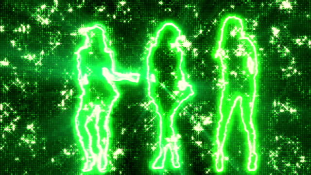 Three sexy girls dancing in silhouette on disco background green video