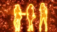 Three sexy girls dancing in silhouette on disco background orange video
