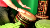 Three (3) short loopable percussion drumming sequences video