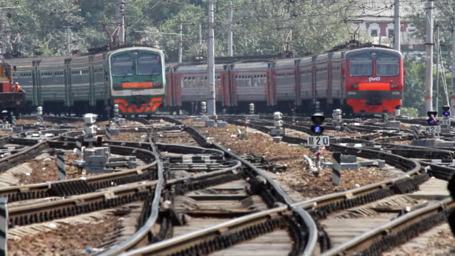 Russia. Moscow - 2013: Three suburban electric train in one time video