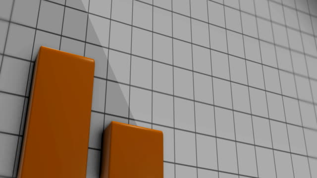 Three tall orange bars rise up from the floor against square backdrop video