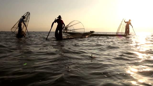 Three traditional Burmese fishermen at Inle lake, Myanmar video