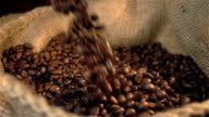 Three videos of falling coffee beans in real slow motion video