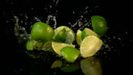 Three videos of falling lime in real slow motion video