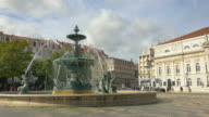 Three videos of fountain on the RossioSquare– Lisbon in 4K video