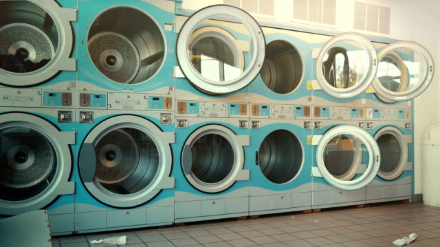 Three videos of self-service laundry - coin laundry video