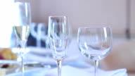 Three wine glasses on  table video