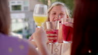 Three women having brunch at a caf_ video