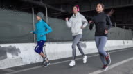 Three women running in New York video