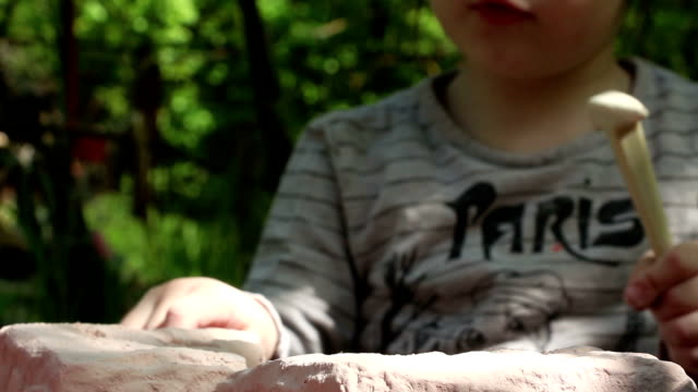 Three year old girl scrupulously studies the stone (gypsum) using magnifier. Lockdown.  Focus on magnifier. video