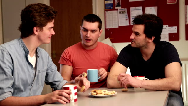 Three Young Men Talking Over Tea video