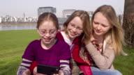 Three Young Teenage Girls, three sisters, glasses, taking selfies video