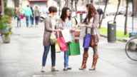 HD: Three Young Women with Shopping Bags video