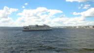 Three-deck passenger ship on the Volga river. Saratov, Russia video