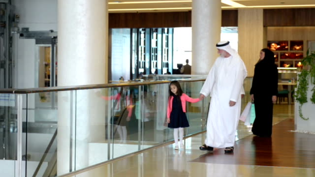 Three-generation Emirati family in shopping mall video