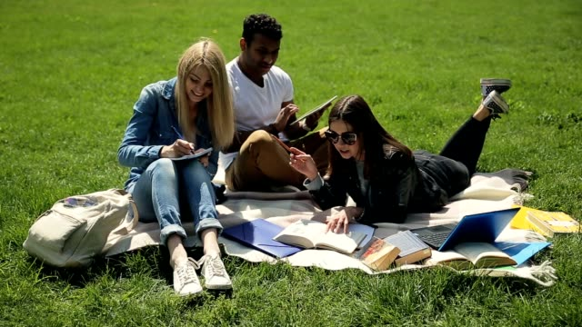 Threesome students studying on campus lawn. video
