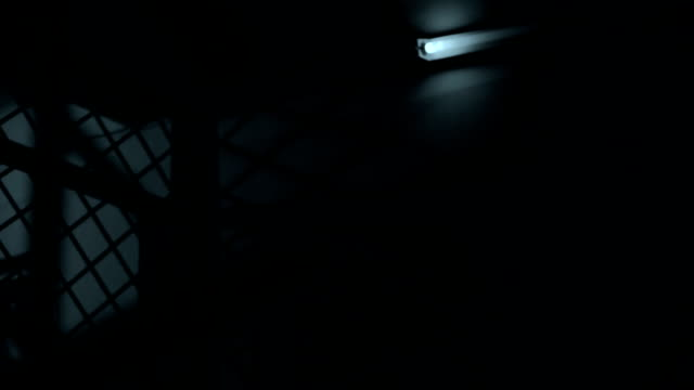Thriller, creepy haunted building, beaming light in darkness video