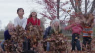 Throwing Leaves in Autumn video