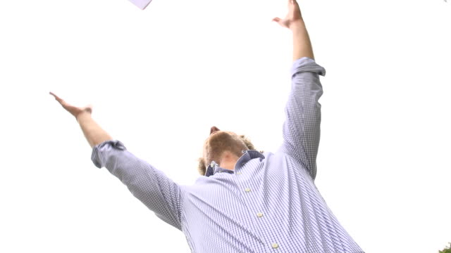 HD SUPER SLOW-MO: Throwing Papers Up In The Air video