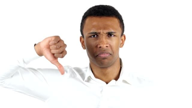 Thumbs Down by Black Man on White Background video