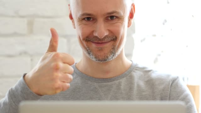 Thumbs Up by Middle Aged Man , Close Up video