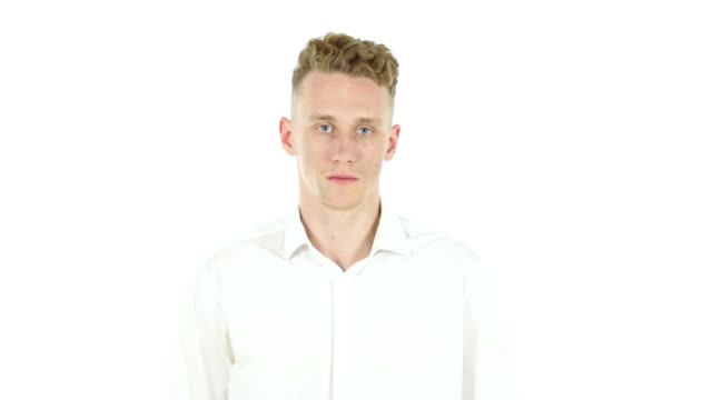 Thumbs Up by Young Businessman, White Background video