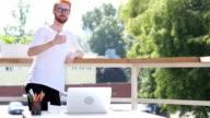 Thumbs Up, Designer Standing in Balcony of Office Outdoor, Gesture video