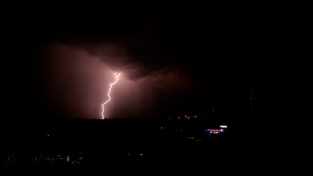 Thunderstorm and lightning in the night sky video