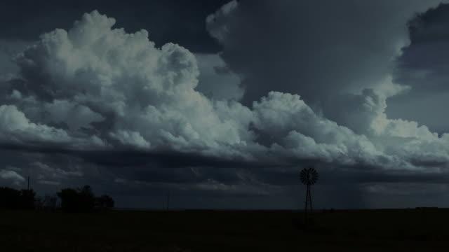 Thunderstorm builds at night in Kansas video
